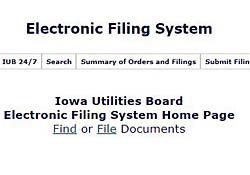IUB electronic filing system homepage