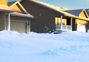 snow-covered homes