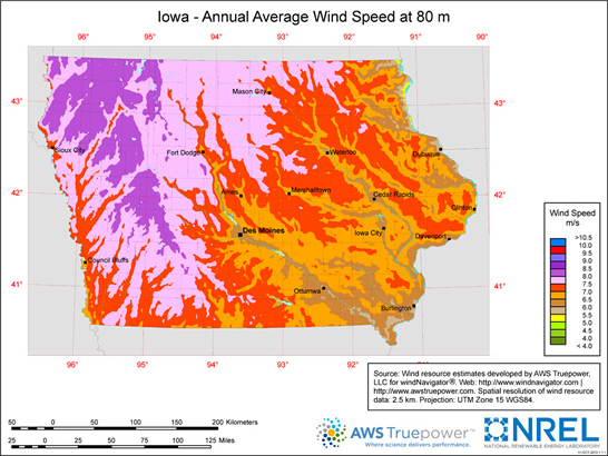 Average annual wind speed in Iowa