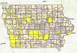 Iowa electric service territory boundaries map