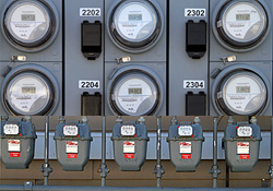 Rows of electric and natural gas meters