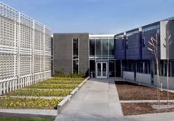 Wide exterior shows the design of the IUB-OCA building