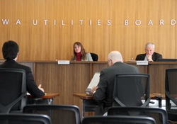 IUB Hearing Room scene during a recent monthly Board meeting
